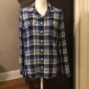 J. CREW women's Sz 8 blue plaid button down shirt